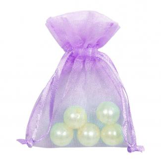 Sacchetto in organza lilla con tirante, confezione da 10 pezzi