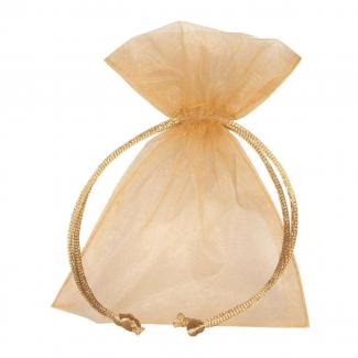 Sacchetto in organza oro con tirante, confezione da 10 pezzi