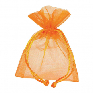 Sacchetto in tessuto organza arancione con tirante, confezione da 10 pezzi