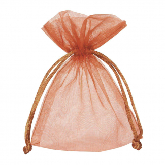 Sacchetto in organza cacao con tirante, confezione da 10 pezzi