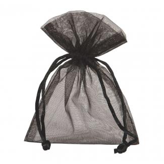 Sacchetto in organza nero con tirante, confezione da 10 pezzi