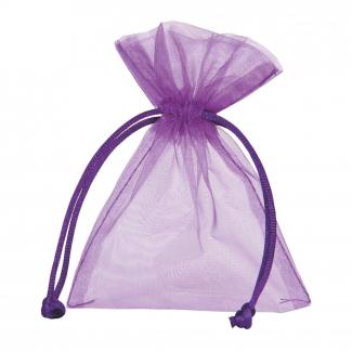 Sacchetto in organza viola con tirante, confezione da 10 pezzi