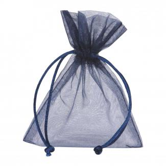 Sacchetto in organza blu con tirante, confezione da 10 pezzi