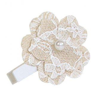 Decorazione fiore naturale con molletta e perla