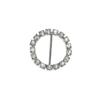 Fibbia con strass argento diametro mm 22 confezione 6 pezzi