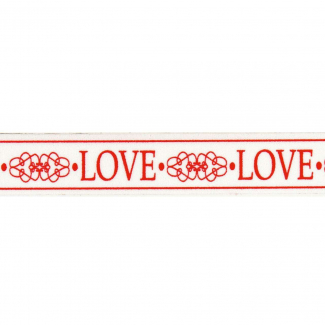 rotolo nastro bianco con scritta love rosso mm 15 x 10 mt