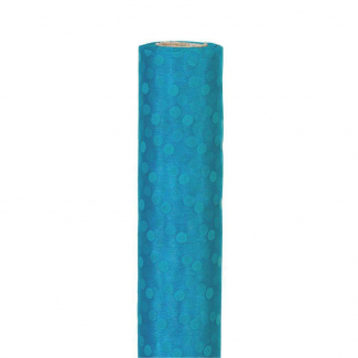 rotolo organza con pois turchese cm 96 x 9 mt