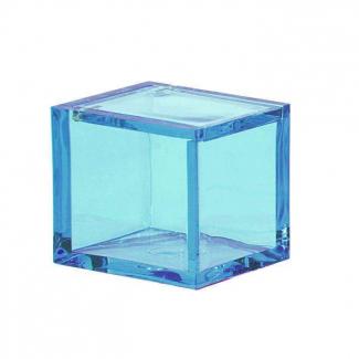Scatola in plexiglass trasparente celeste cm 4.5 x 4.5 x 4.5 confezione da 8 pezzi