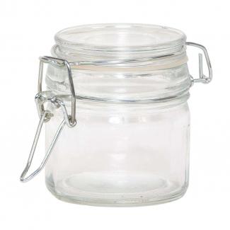 Vasetto in vetro da 90 ml, con base quadrata e chiusura ermetica