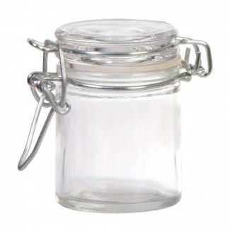 Vasetto in vetro da 50 ml, con base tonda e chiusura ermetica