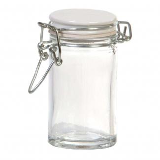 Vasetto in vetro da 70 ml, con base tonda e chiusura ermetica con tappo bianco in ceramica