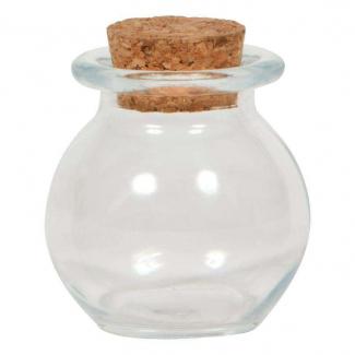Vasetto in vetro da 50 ml, con base tonda e tappo di sughero