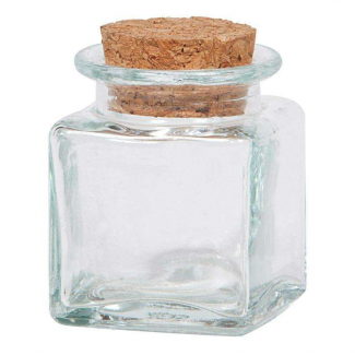 Vasetto in vetro da 95 ml, con base tonda e tappo di sughero
