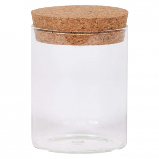 Vasetto in vetro sottile da 370 ml, con base tonda e tappo di sughero
