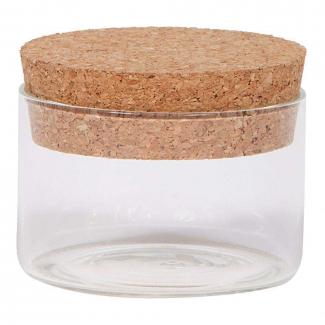 Vasetto in vetro sottile da 130 ml, con base tonda e tappo di sughero