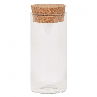 Vasetto in vetro sottile da 120 ml, con base tonda e tappo di sughero