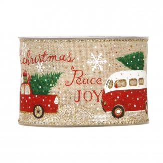 rotolo nastro natalizio in tessuto naturale, con scritte, mm 63 x 10 mt