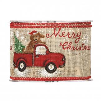 rotolo nastro naturale con soggetti natalizi e scritta merry christmas mm 63 x 10 mt