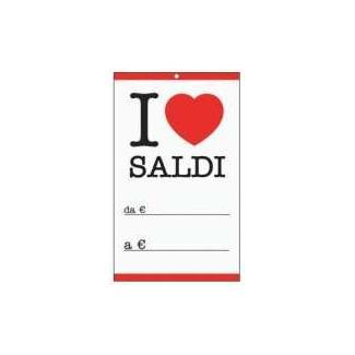 """Cartellino bianco con scritta """"i love saldi"""" cm 6 x 10, confezione da 50 pezzi"""