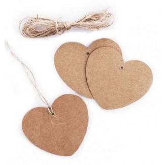 Etichetta tag in kraft avana scrivibile a forma cuore con foro e filo di juta cm 7 x 5.5 confezione da 20 pezzi