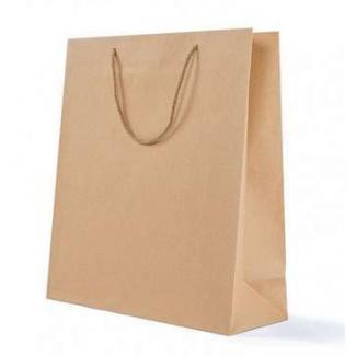 Mini shopper kraft avana, con maniglia in cotone e tag