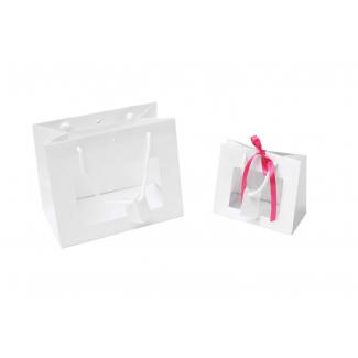 Shopper lusso bianco opaco con finestra, maniglia in cotone e tag