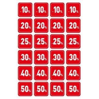 Etichetta adesiva quadrata con stampa percentuale di sconto, color rosso, cm 3 x 3, confezione da 240 pezzi