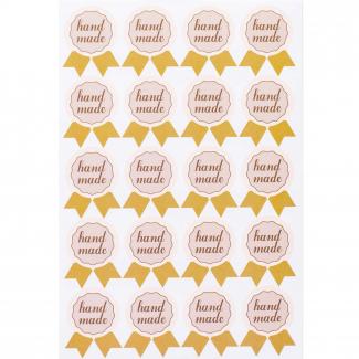 """Etichetta adesiva sagomata con scritta """"hand made"""", cm 3 x 4, confezione da 200 pezzi"""