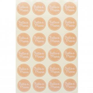 """Etichetta adesiva rotonda avana con scritta """"fatto a mano"""", diametro cm 3, confezione da 240 pezzi"""