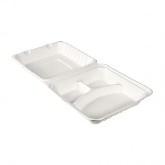 Contenitore polpa di cellulosa biodegradabile e compostabile con 3 scomparti 350/120/120cc confezione da 50 pezzi