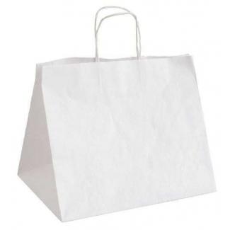 shopper kraft bianco fondo largo con maniglia ritorta cm 41 + 28 x 30 confezione da 25 pezzi