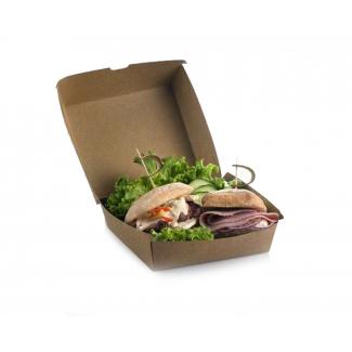 Scatola per panini e hamburger in cartone kraft avana confezione da 50 pezzi