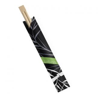 Bacchette in bamboo da 21cm imbustate in carta nera confezione da 100 pezzi