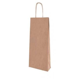 Shopper portabottiglia in kraft avana con maniglia ritorta