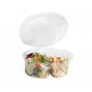 vaschetta 2 scomparti ovale  con coperchio in pet serie elipack - confezione da 150 pezzi