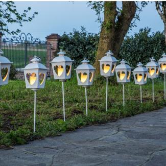 Lanterna in metallo bianco con candela led avorio cm 8.5 x 8.5 x h 15 confezione da 2 pezzi