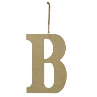 """Lettera in legno """"b"""" da appendere cm 15x1.2 h 22"""
