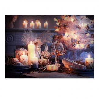 Quadro a led con candele e albero di natale cm 50 x 70 x 1.8