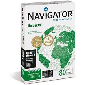 Risma di carta bianca Navigator da 80 gr/mq, in formato A4, in confezione da 500 pezzi