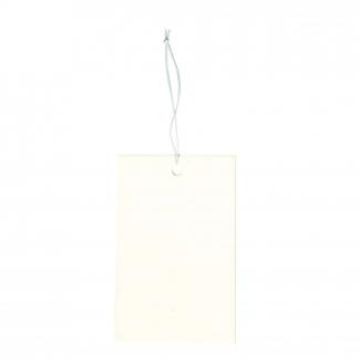 Etichetta tag rettangolare in cartoncino bianco con filo elastico