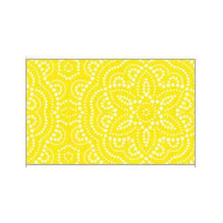 Tovaglia in tessuto non tessuto (TNT), base gialla con fantasia geometrica bianca, confezionata in rotolo da 1.60x10mt.