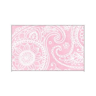 Tovaglia in tessuto non tessuto (TNT), base rosa con fantasia cachemire bianca, confezionata in rotolo da 1.60x10mt.