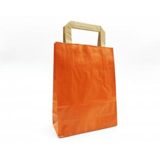 Shopper sealing millerighe arancione con maniglia piatta