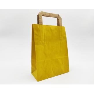 Shopper sealing millerighe giallo con maniglia piatta