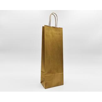 shopper portabottiglia kraft color oro, con maniglia ritorta cm 14 + 8.5 x 39.5 confezione da 50 pezzi