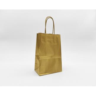 Shopper kraft oro con maniglia ritorta