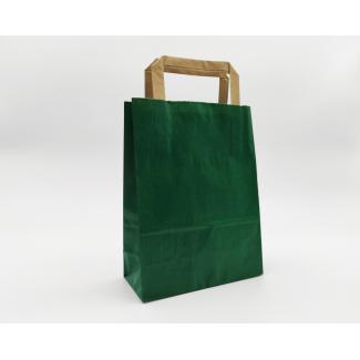 Shopper sealing millerighe verde scuro con maniglia piatta