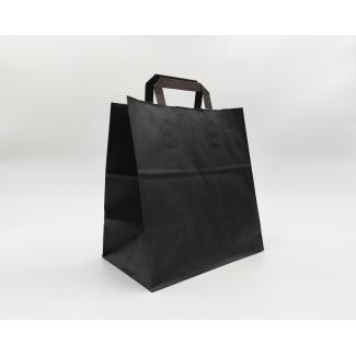 Shopper kraft nero fondo largo con maniglia piatta
