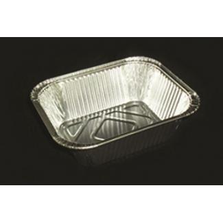 Vaschetta alluminio da 1 porzione, base rettangolare, confezione da 100 pezzi