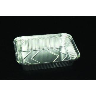 Vaschetta alluminio da 3 porzioni, base rettangolare, con predisposizione chiusura coperchio cartoncino alluminato confezione da 100 pezzi